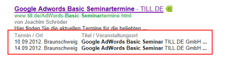 Rich Snippet Google AdWords Basic Seminartermine