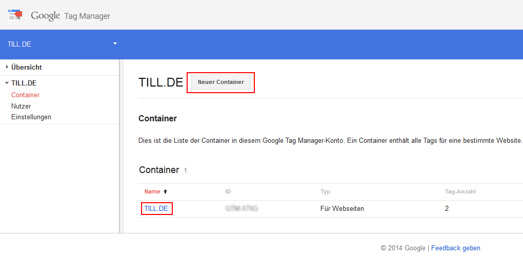Google Tag Manager Containerübersicht