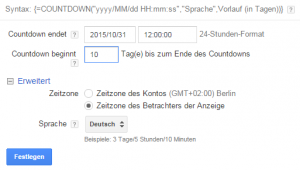 AdWords Countdown Einstellungen