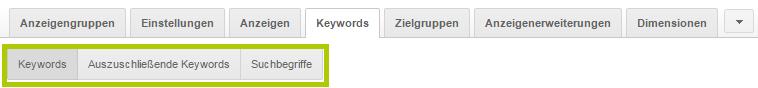Neue Darstellung Keyword-Bereich