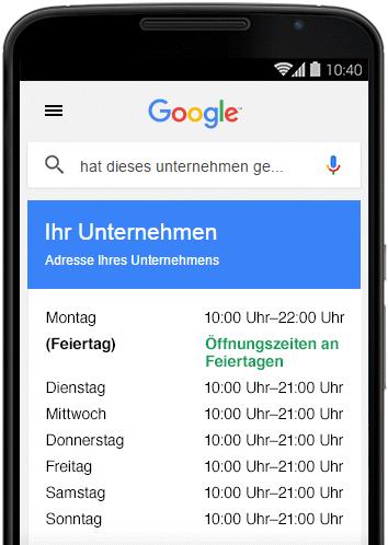 Google My Business Sonderöffnungszeiten