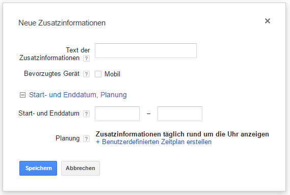 Google AdWords Callouts Erweiterungen mit Zusatzinformationen