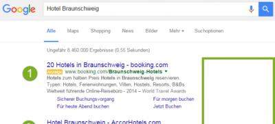 Google Suche: keine Anzeigen auf der rechten Seite