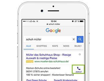 Screenshot - Google AdWords Anruferweiterung
