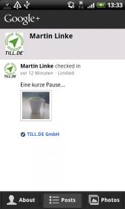 Die Startseite des Profils
