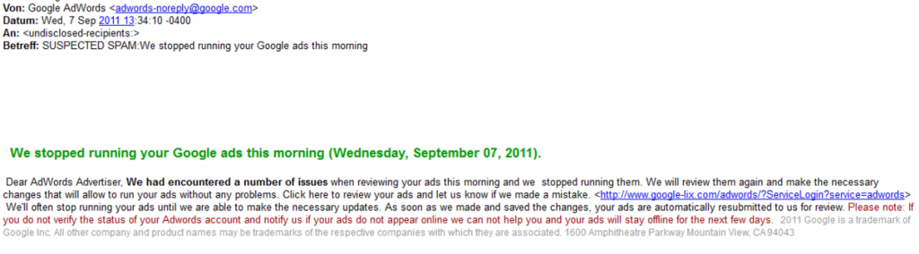 adwords spam mail