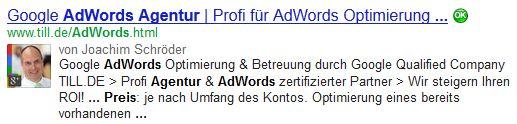 Google SERP Description für AdWords Agentur Preise