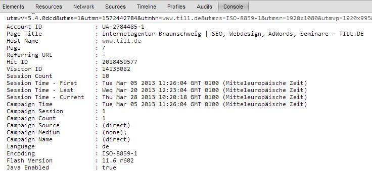 Google Analytics Debugger Details