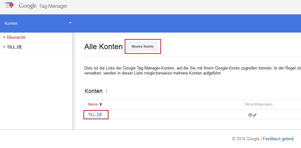 Google Tag Manager Kontoübersicht