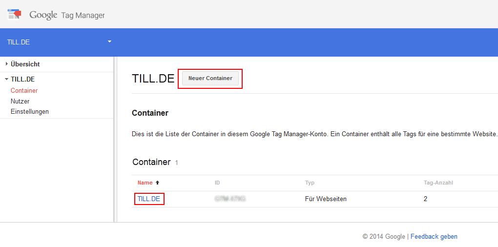 Google Tag Manager Containerübersicht