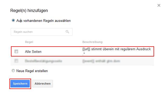 Google Tag Manager Regel hinzufügen