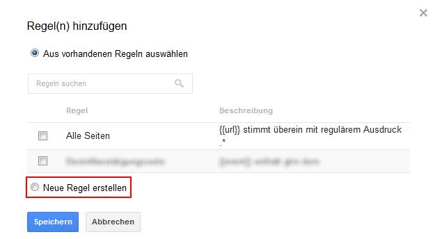 Google Tag Manager neue Regel erstellen
