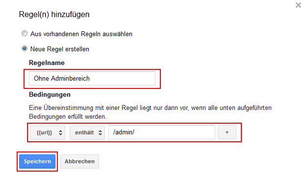 Google Tag Manager Regel erstellen