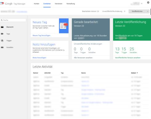 Google Tag Manager - Übersicht neue Oberfläche