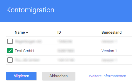 Google Tag Manager - Migrationsassistent Kontoauswahl