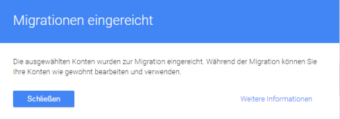 Google Tag Manager - Migrationsassistent Migration eingereicht