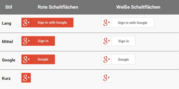 Google-Schaltflächen in rot und weiß